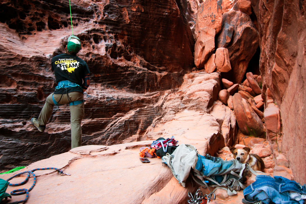 Sport climbing in the Black Corridor at Red Rocks.     Jenna Herzog