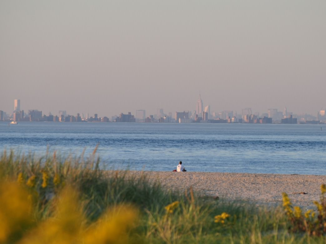 Taking in the views of Manhattan from Sandy Hook