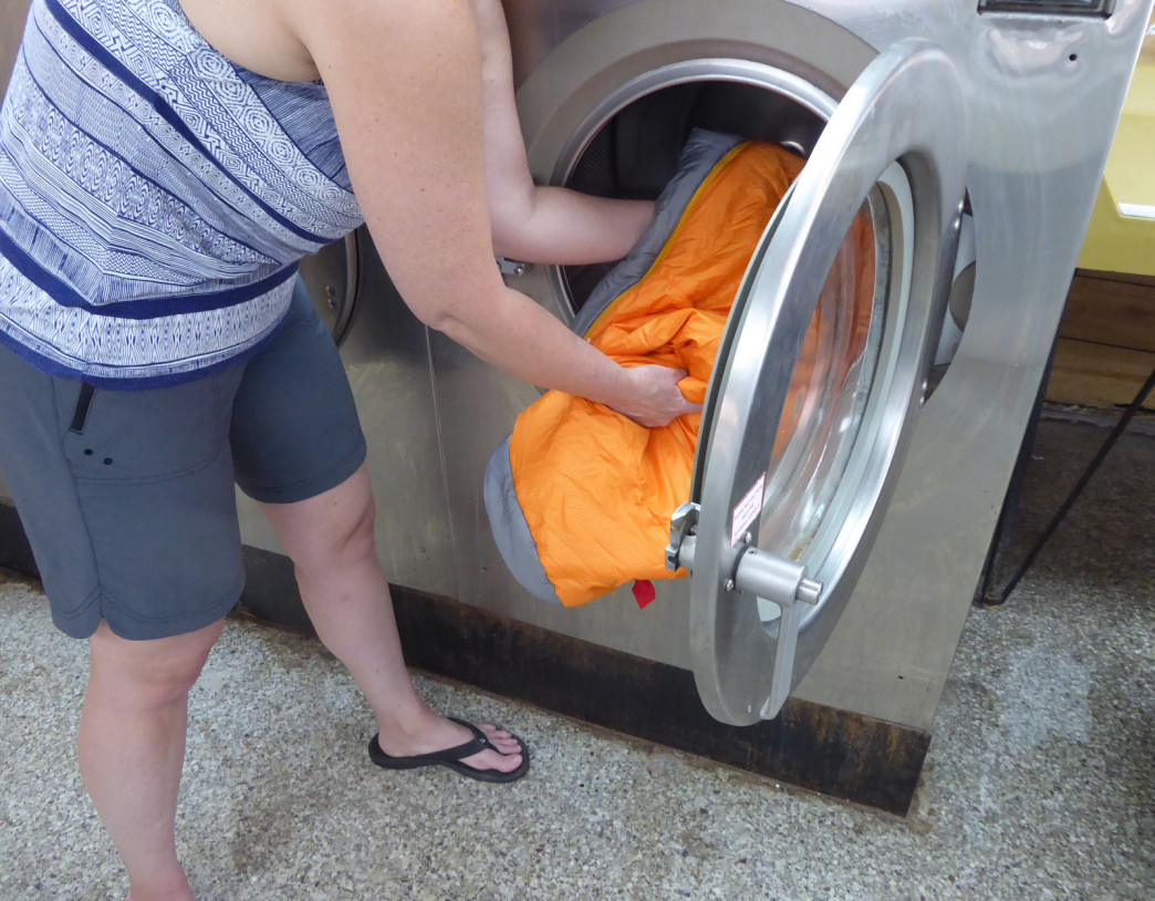 Front-loading machines are better for washing down products, especially your sleeping bag. Marcus Woolf