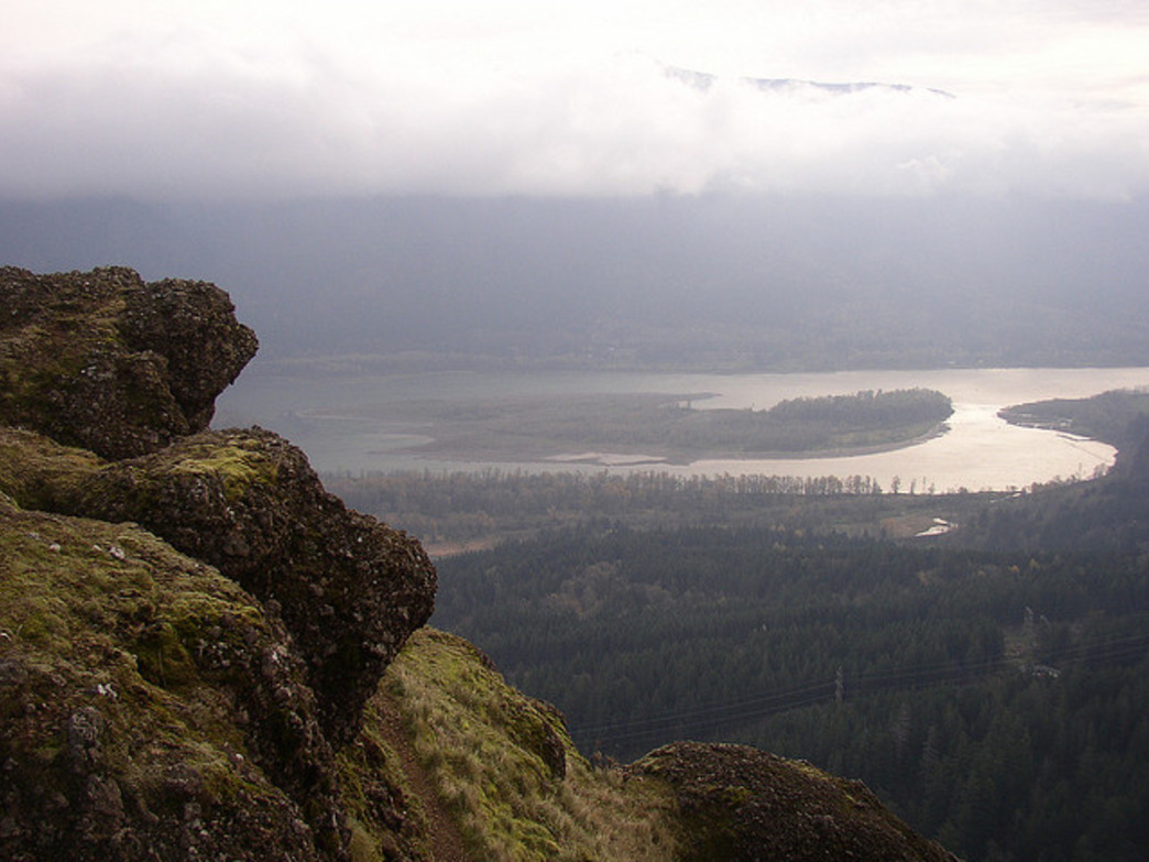 Hikers enjoy incredible views of the Columbia River Gorge along the Hamilton Mountain trail.