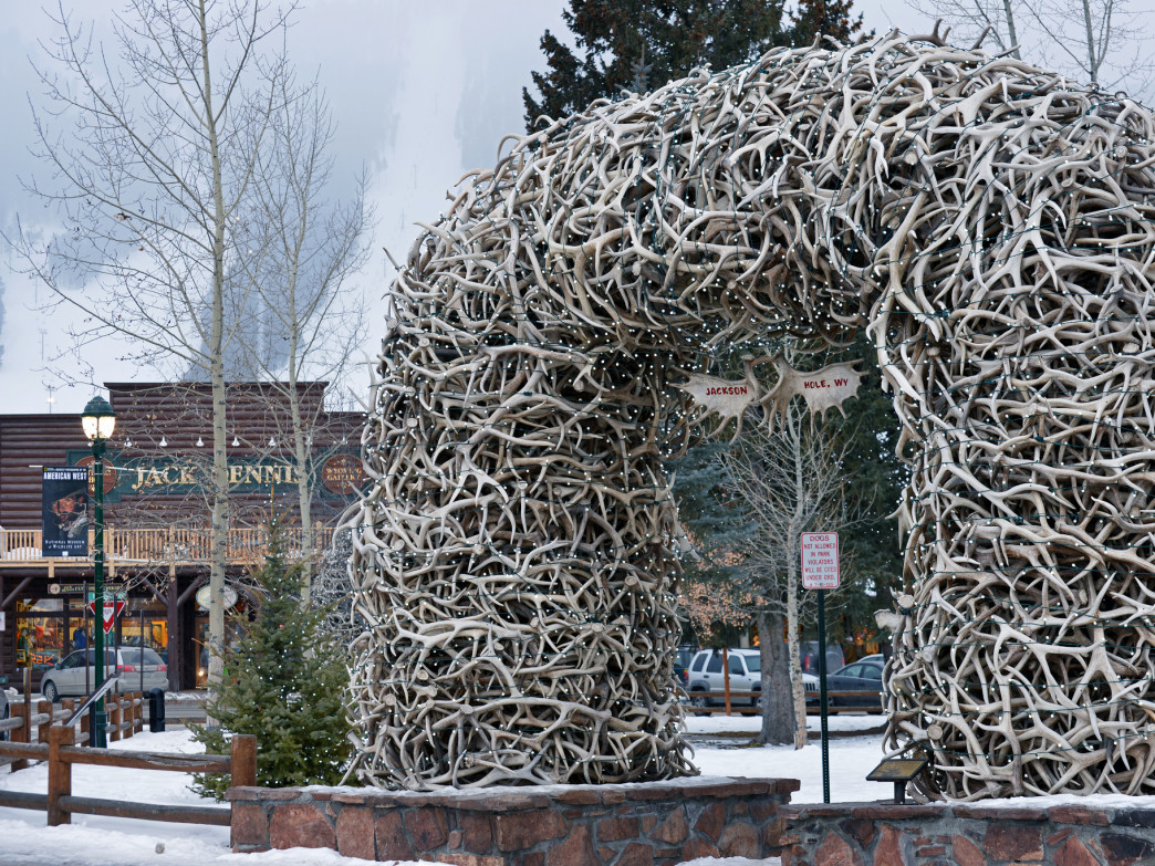 Jackson's famous elk arch would make for a great holiday photo backdrop.