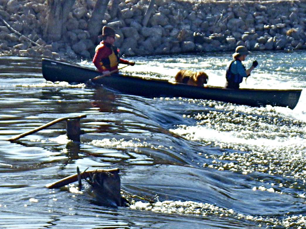 By lining up properly, canoeists can make a clean run on the river's diversions.