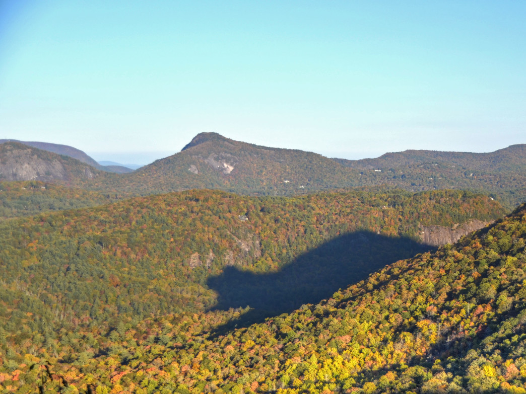 "The ""shadow of the bear"" is visible from the Rhodes Big View Overlook on US 64."