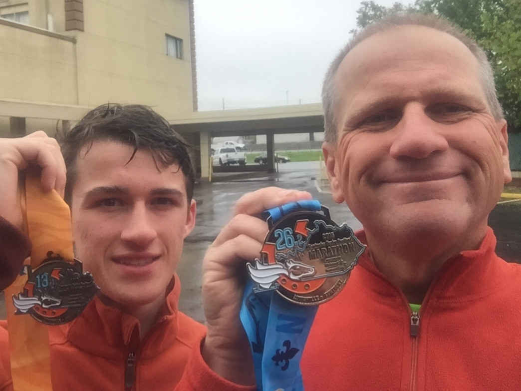 Father and son, Jean Paul and Devin Vaudrieul, will be running in this year's 7 Bridges Marathon