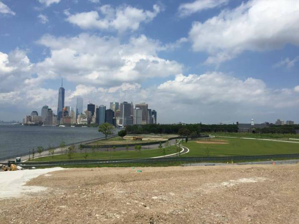 Governors Island has waterfront paths with a city skyline view