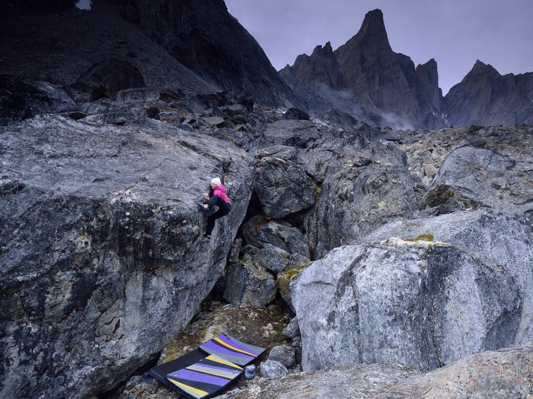 Angie climbing in Greenland.