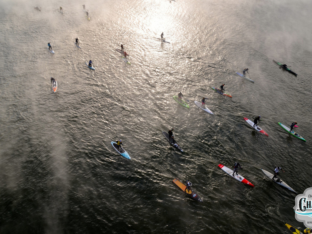 The fog rising from the river as the racers set off on a full day of paddling adventure.