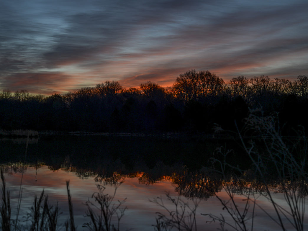 A colorful sunrise at Shelby Farms State Park.
