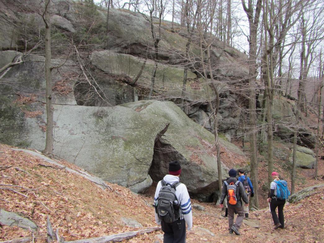Hiking towards the Lemon Squeezer in New York's Harriman State Park.