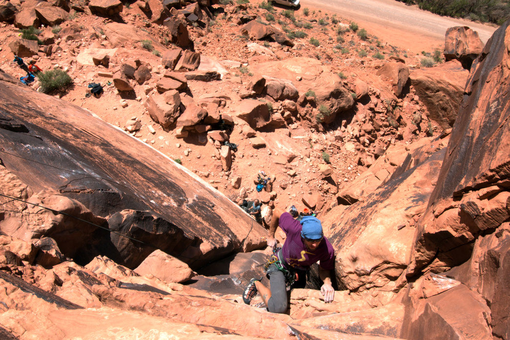 Finishing up a route at Ice Cream Parlor wall in Moab, Utah.     Jenna Herzog