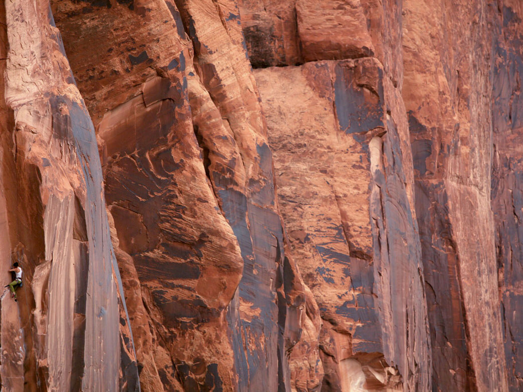Trad climbing at Wall Street in Moab, Utah.