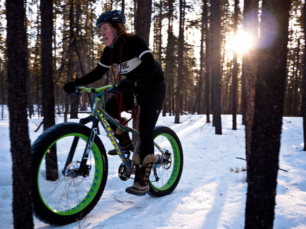 Fat biking in the snow makes for a fun and heart pumping winter workout