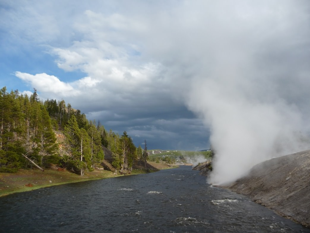 Dramatic views are up for grabs on the Firehole River in Yellowstone.