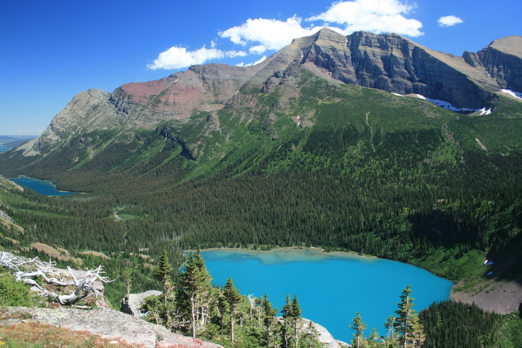The surreal blue waters of Grinnell Lake.