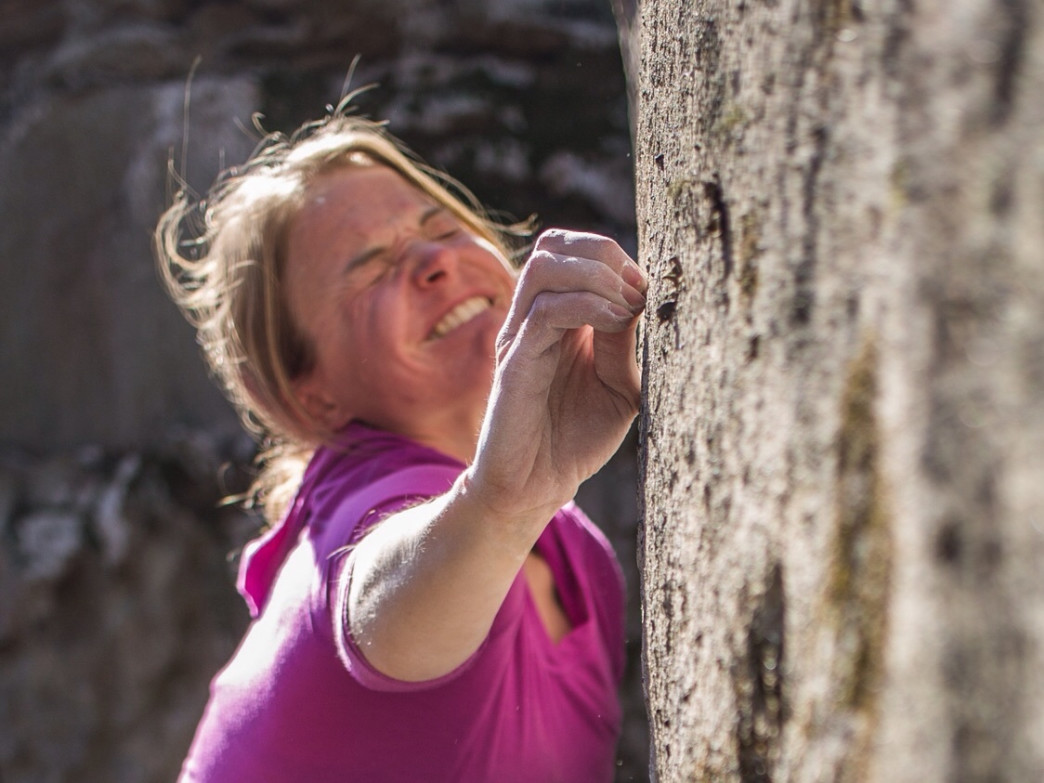 Angie looking for crimps at Stone Fort, Tennessee.