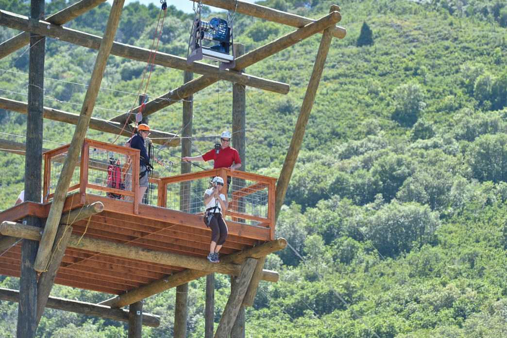 The park is filled with a wide variety of zipline courses, including one with a 65-foot rappel.