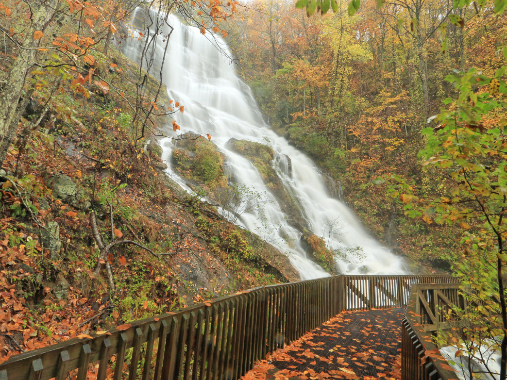 Hike to the tallest cascading waterfall in the Southeast at Amicalola Falls State Park for stunning autumn views.
