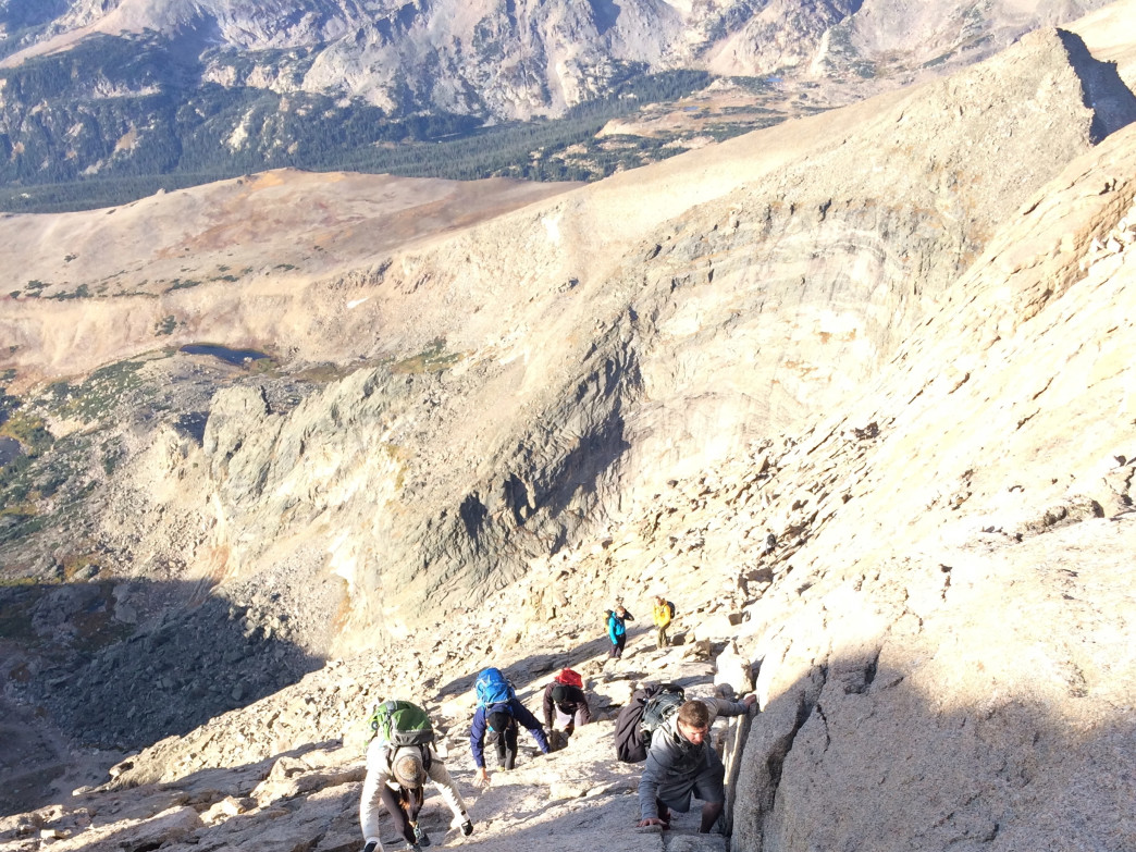The Homestretch—the final approach up Longs—requires some scrambling. Don't fall.