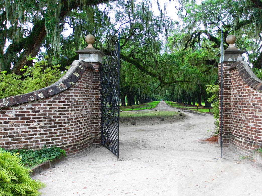 The entrance to the Boone Hall Plantation.