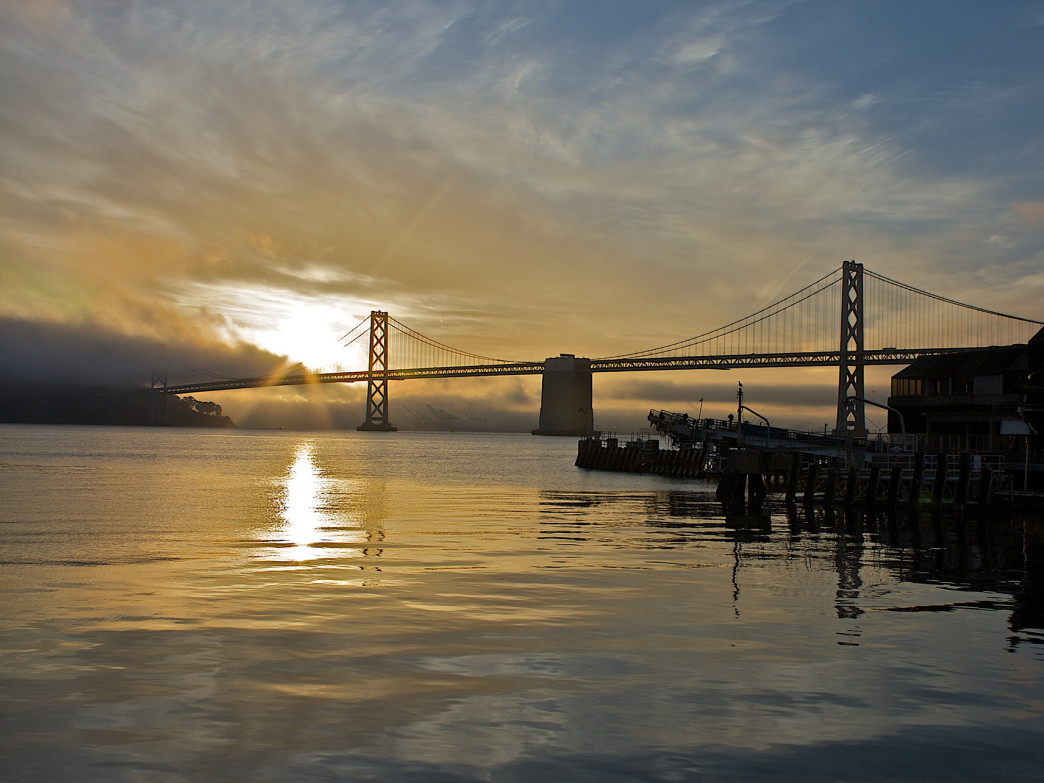 Take in serene views of the bay and beyond from the Embarcadero.