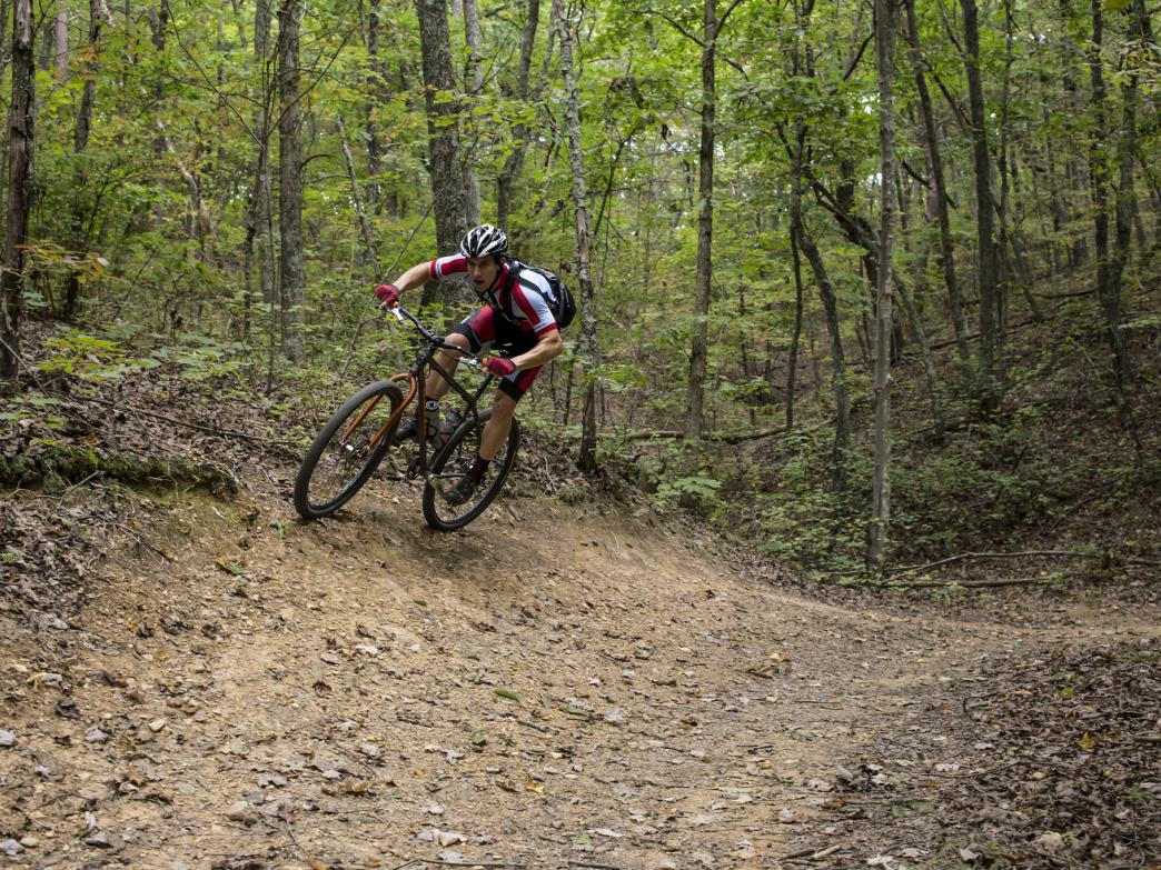 Five Points has no shortage of high-speed flow, including this berm on the Slickensides Trail.