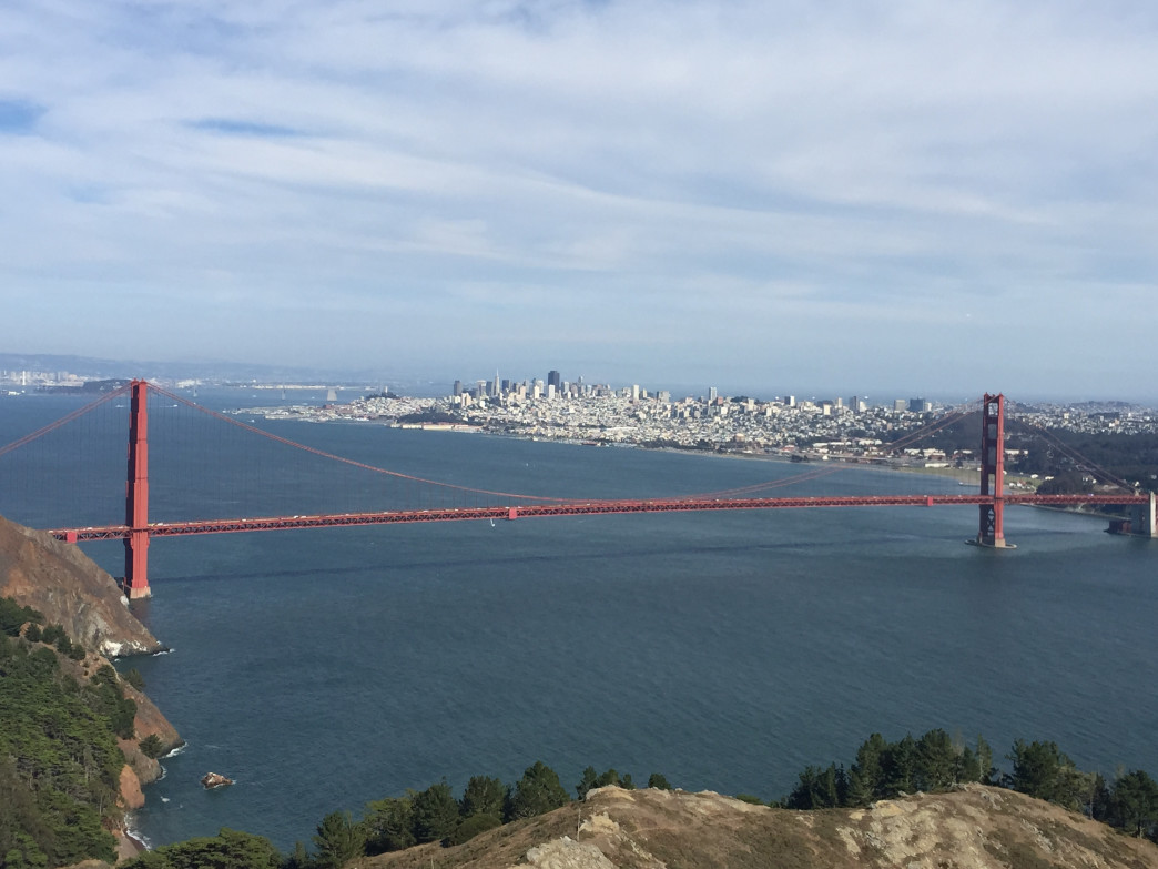 On a sunny day, this is your rewarding view atop Hawk Hill.