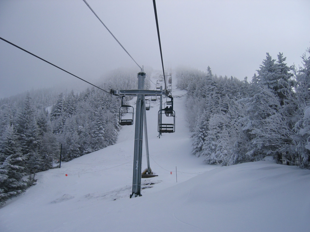 Getting ready to catch some fresh pow at Smugglers' Notch Resort in Cambridge, VT.