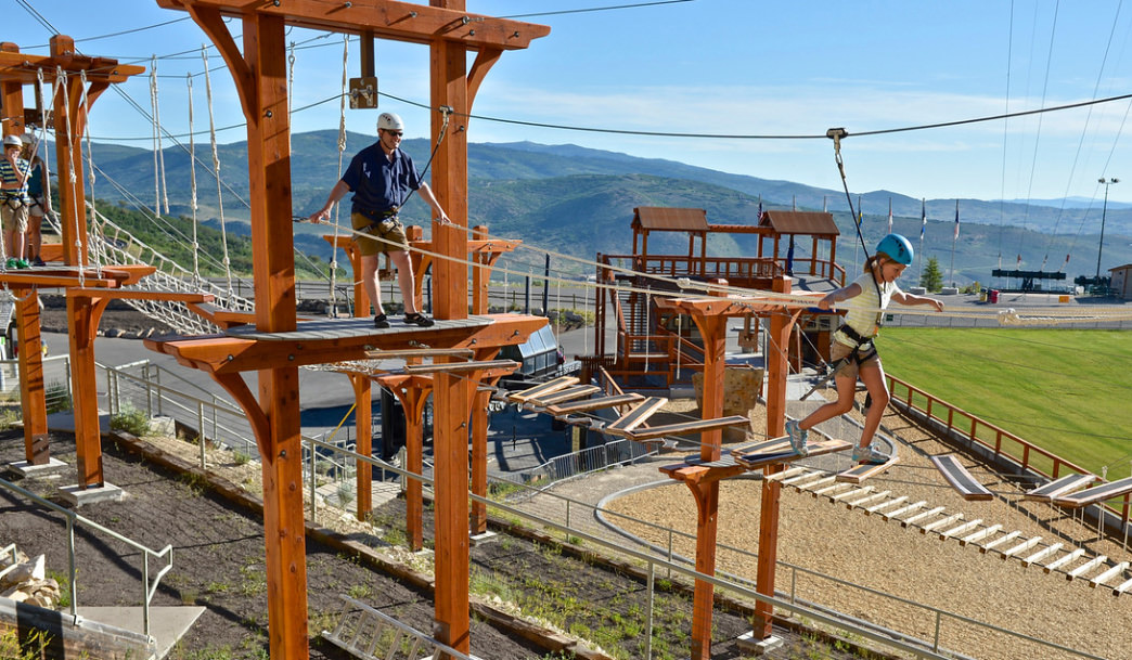 The ropes courses let you climb high above the park.
