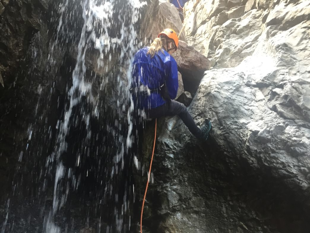 Canyoning down Portland Creek gives a good dousing complete with back massage.