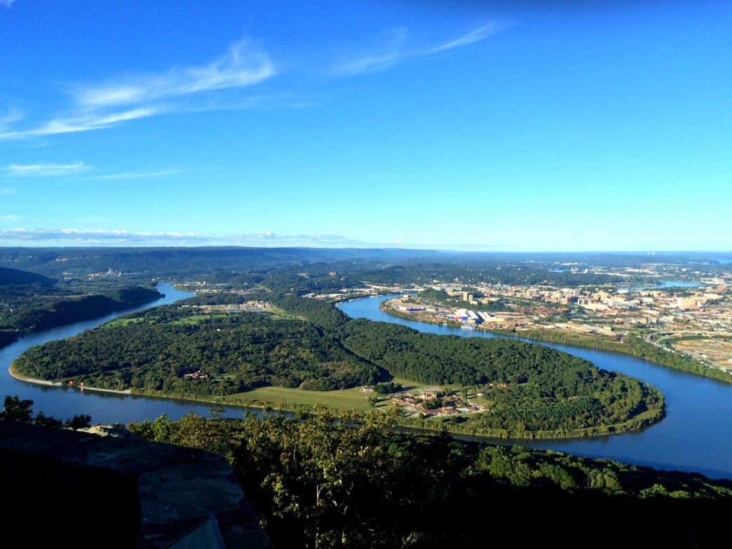 The view of Downtown Chattanooga from Lookout Mountain's Point Park