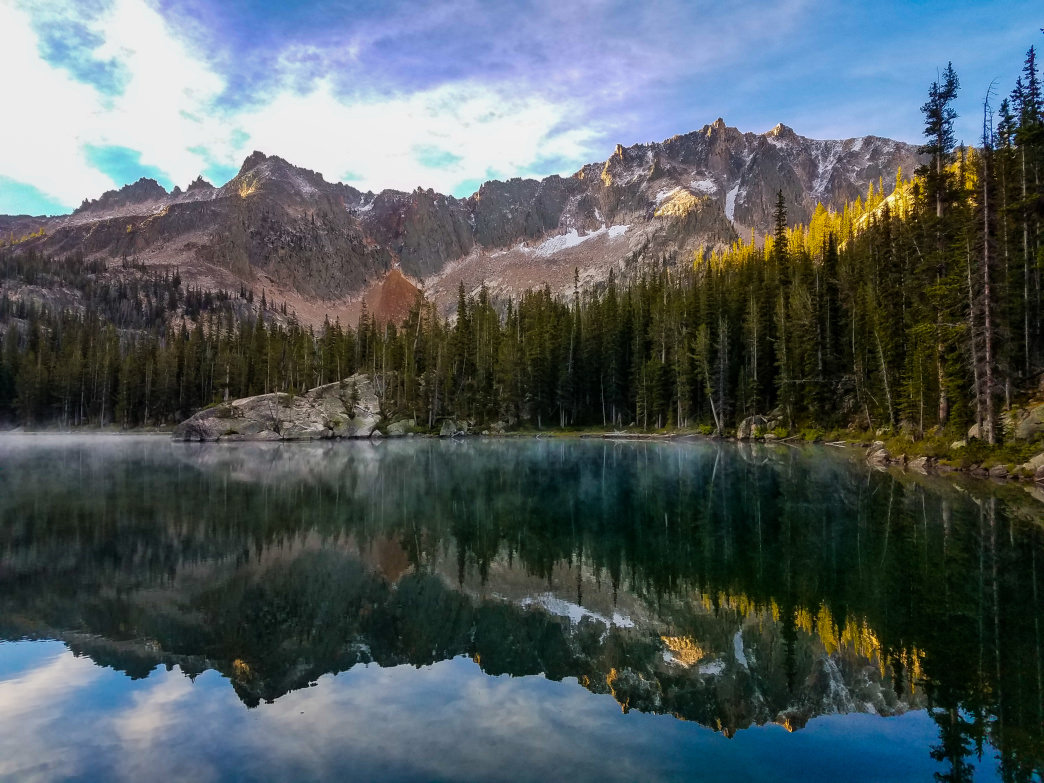 Middle Saddleback Lake offers a calm place to reflect during brisk Sawtooth mornings.