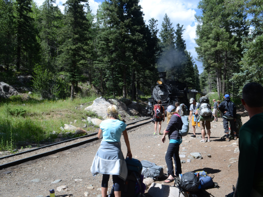 "The Durango & Silverton Narrow Gauge Railroad picks up hikers at the Needleton stop in Chicago Basin, a common ""put-in"" for hikes to Chicago Basin."