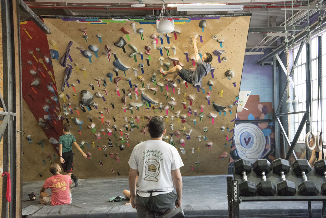 Bouldering at Brooklyn Boulders, arguably the best indoor climbing gym in NYC.