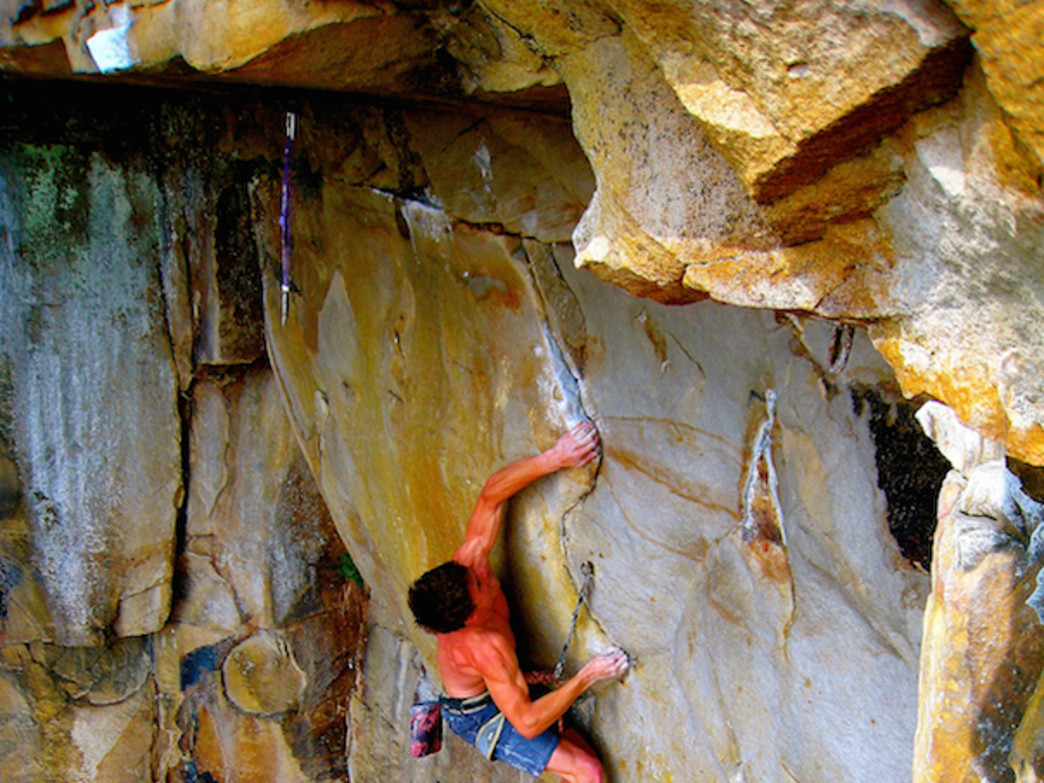 John climbing at Tennessee Wall