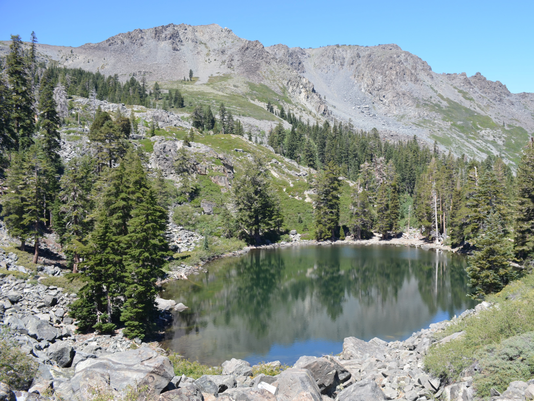 Cathedral Lake is the last water before beginning the steep, sun-exposed climb to the summit.