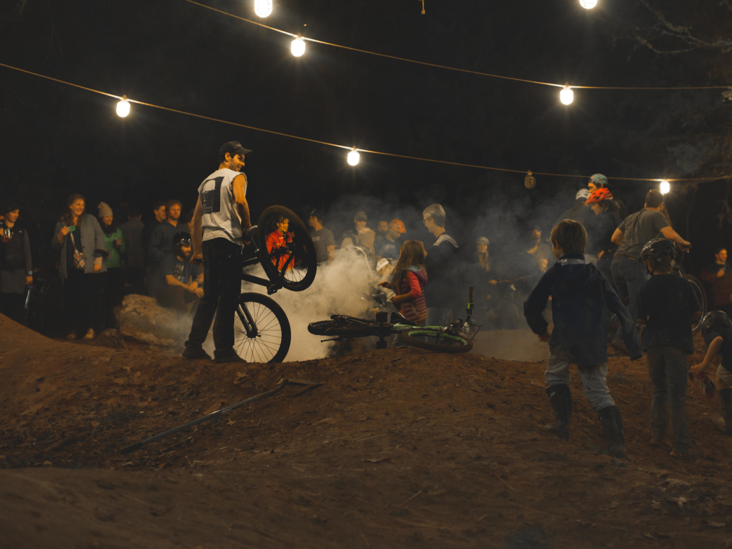 Pile up on the pump track.