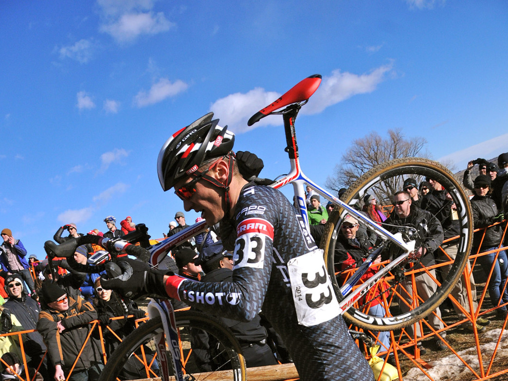 Brady Kappius starts to climb the 5280′ Run Up at the U.S. Cyclocross National Championships in Boulder on Jan 12th.
