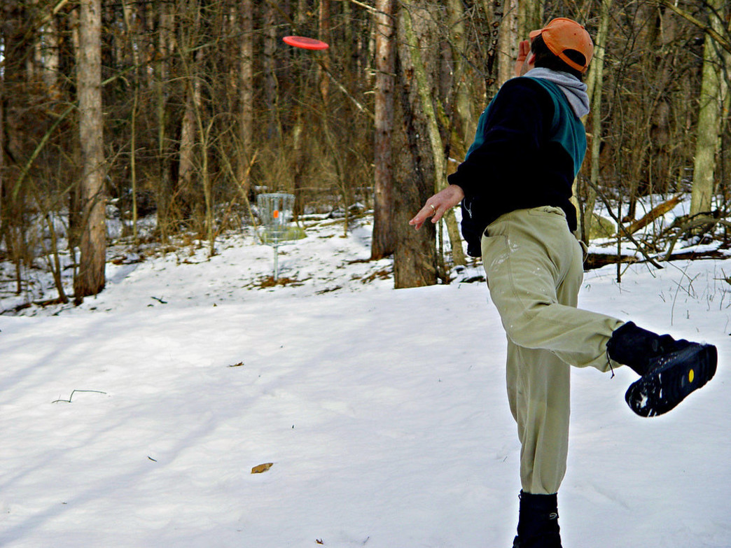 Disc golf is a great way to get out and stay active during winter.