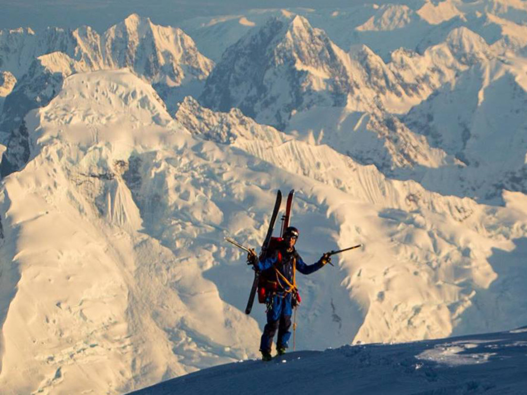 Jordan snaps a photo of his ski and climbing partner Anton Sponar as the reach the summit of Foraker in the Alaska Range.