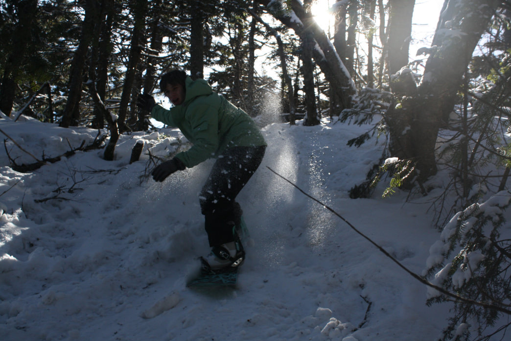 Finding some nice powder in the woods at Okemo.