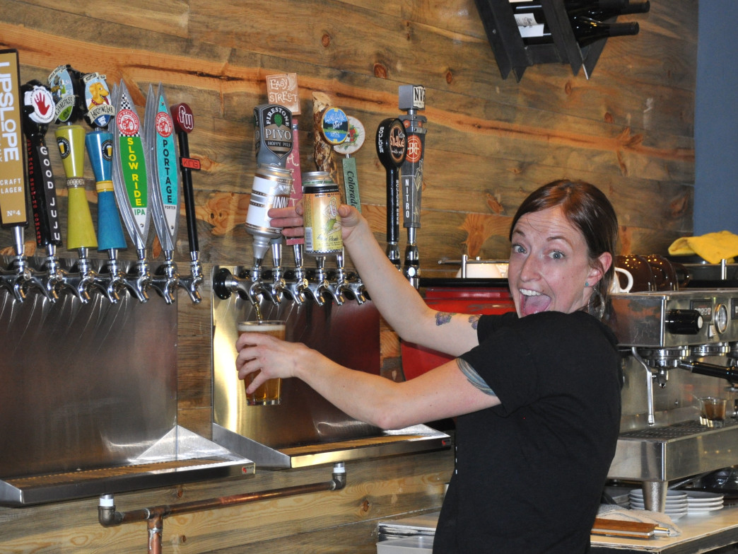Ute & Yeti's general manager Heather Robinson  handles the pub's 16 taps.