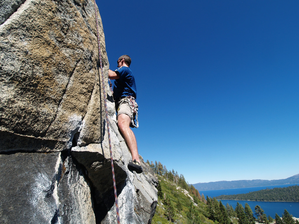 Emerald Bay, one of the most iconic spots along Lake Tahoe, provides a spectacular backdrop for this climb