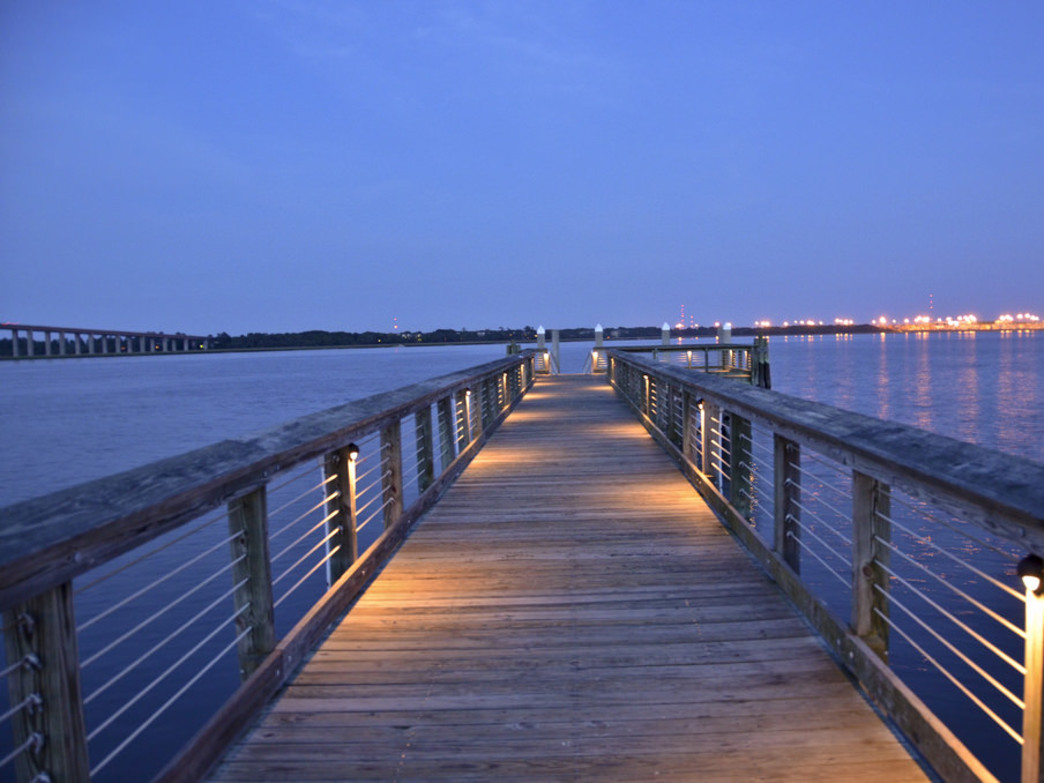 Mount Pleasant Pier at night.