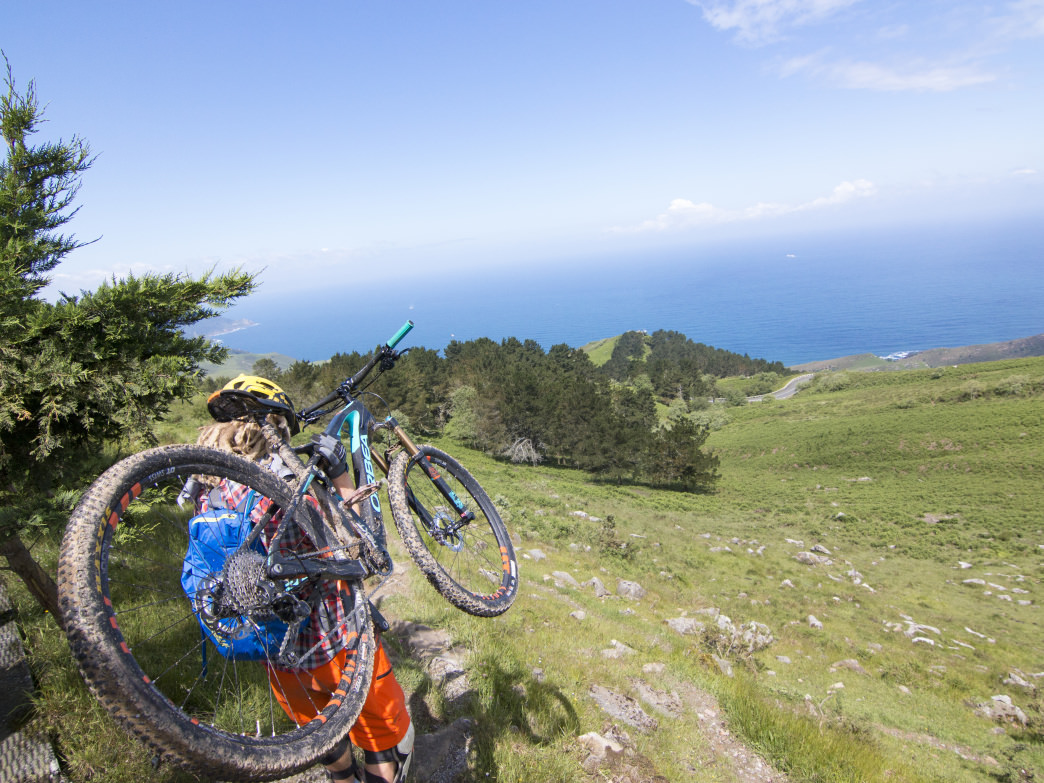 Testing out a mountain bike in the Basque Country of Spain.