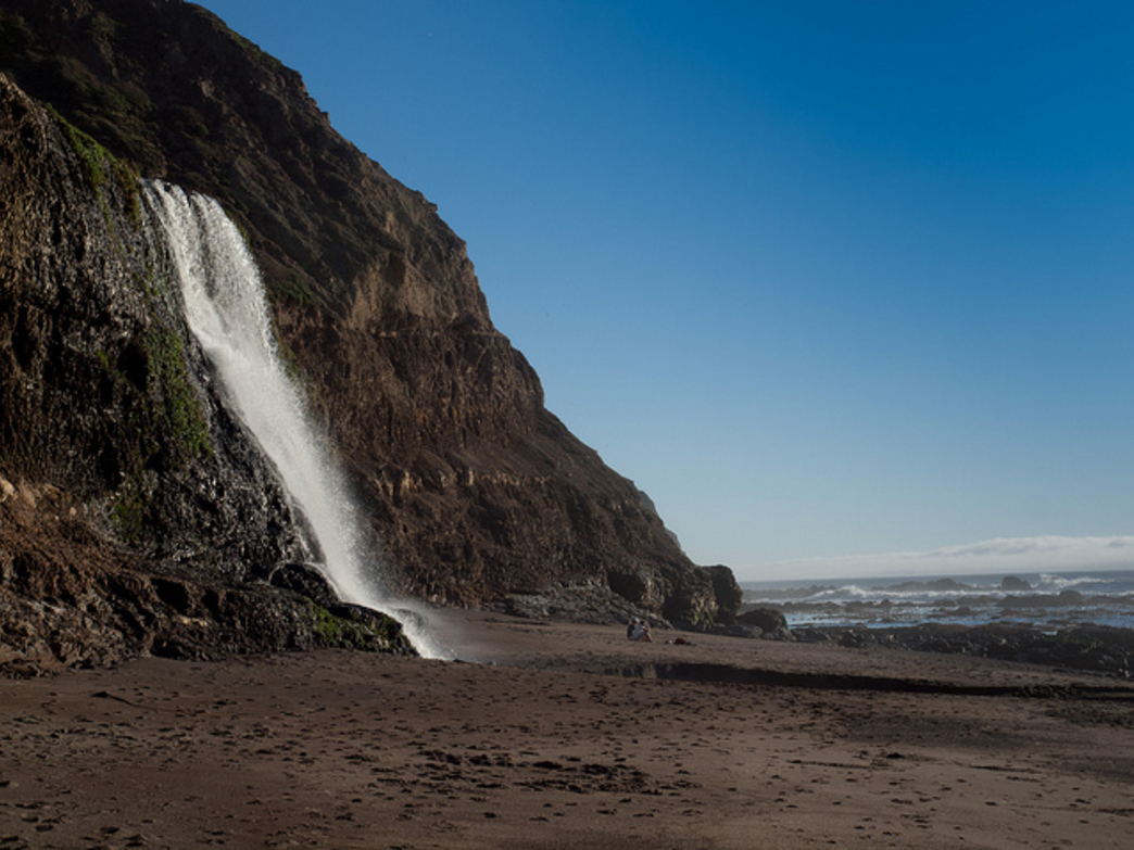 Alamere Falls tumbles onto the beach in Point Reyes.