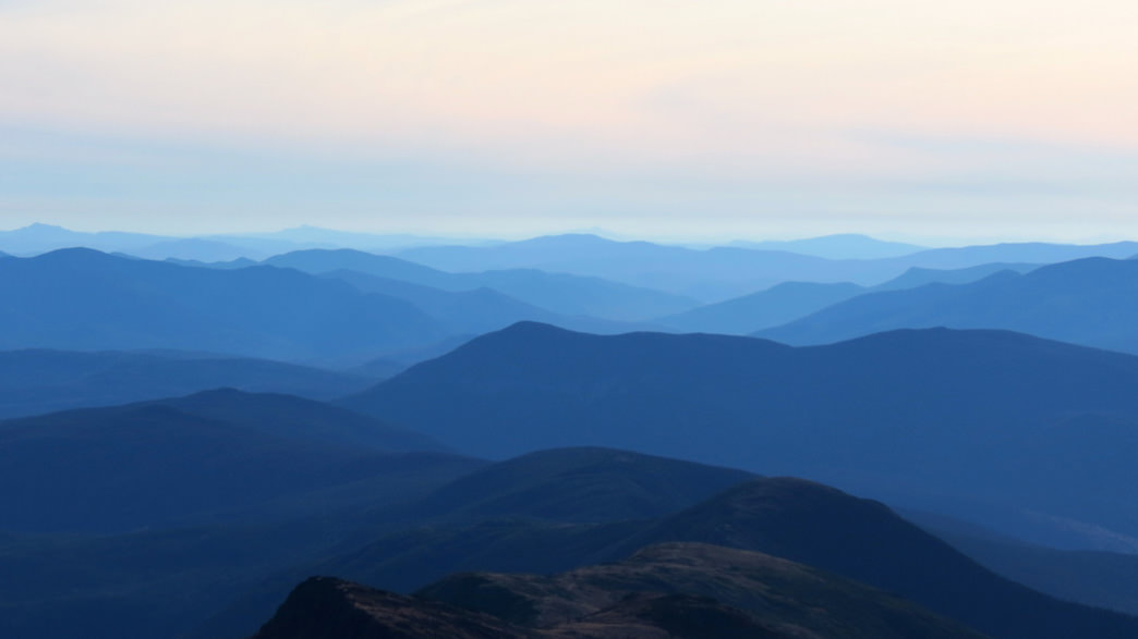 An endless sea of blue from the peak of New Hampshire's Mount Washington