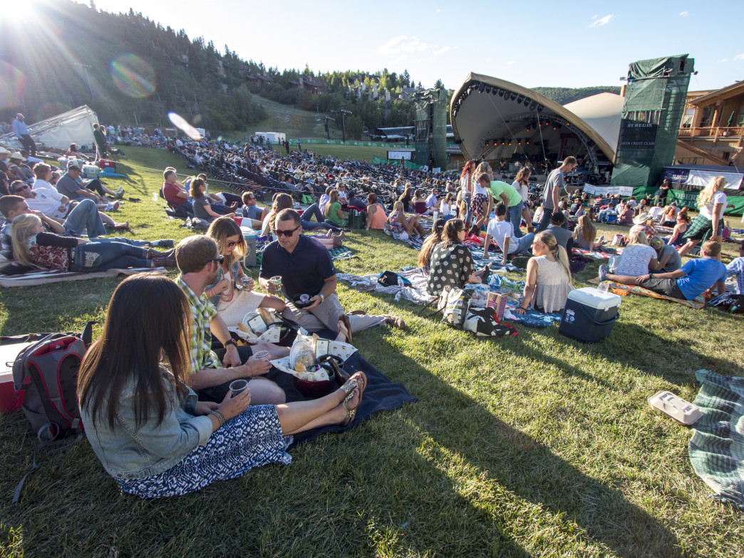 Deer Valley's outdoor amphitheater is a popular spot to watch the sunset from a picnic blanket.