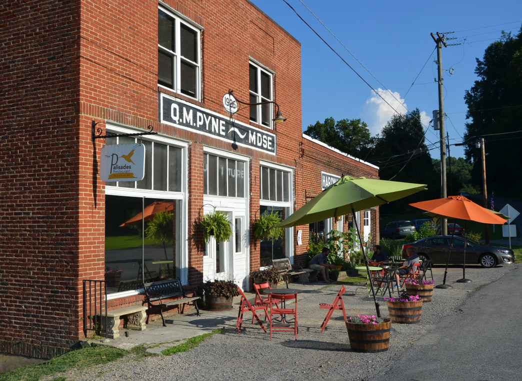 A 1920s general store was transformed into the Palisades restaurant.