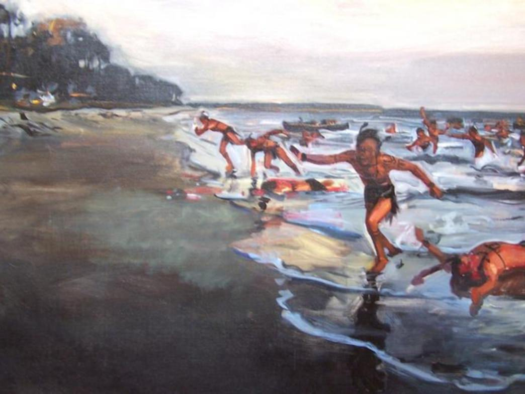 Yemasse Soldiers storm Bloody Point in a painting by Lee Baskerville