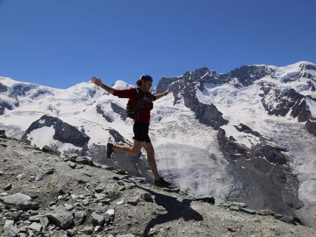 Blanton running down the Gornergrat Mountains in Switzerland.